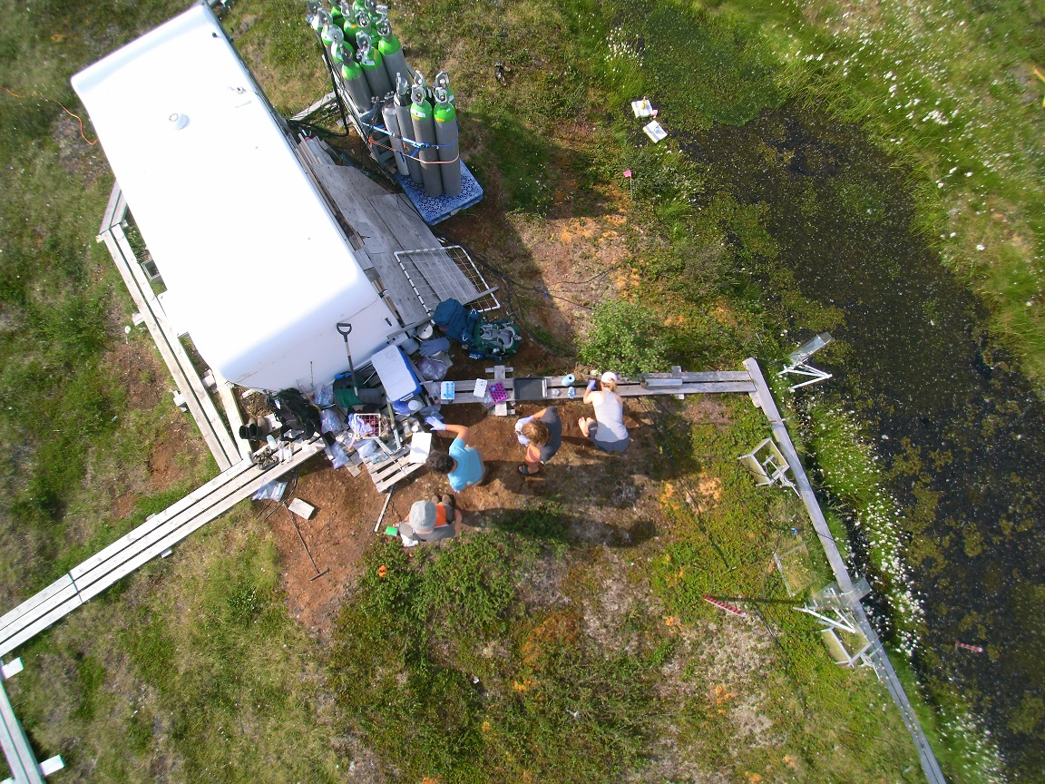 Overhead drone photo of researchers processing samples in the field (Credit: K Rocci)